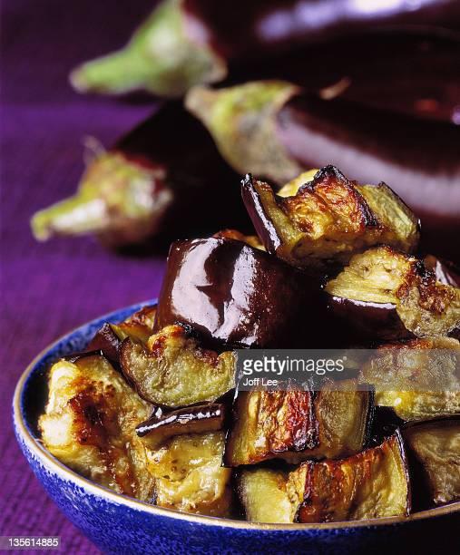Bowl of roast aubergine