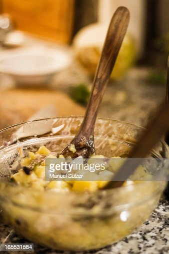 Bowl of salad with potatoes : Stock Photo