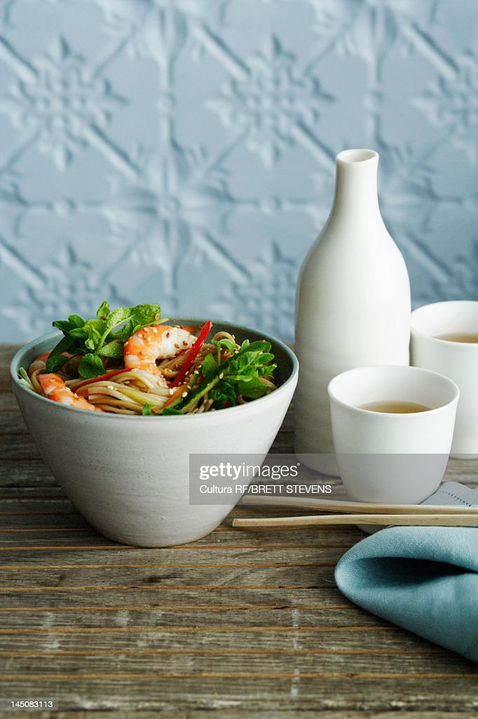 Bowl of shrimp with noodles : Stock Photo