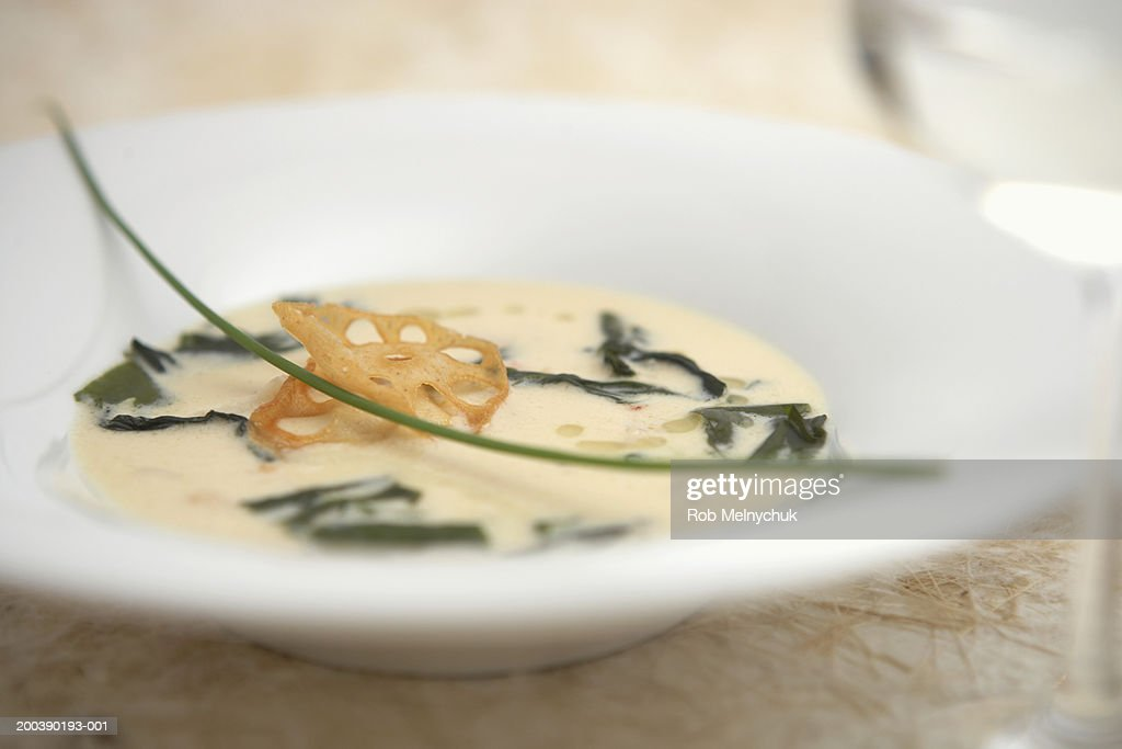 Bowl of soup, elevated view : Stock Photo