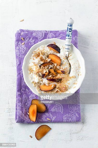 Bowl of soured milk with quinoa, plums, sunflower seed and cinnamon