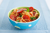 Bowl of spaghetti, close up