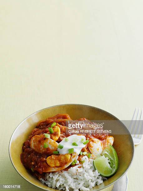 Bowl of spicy curry with egg and rice