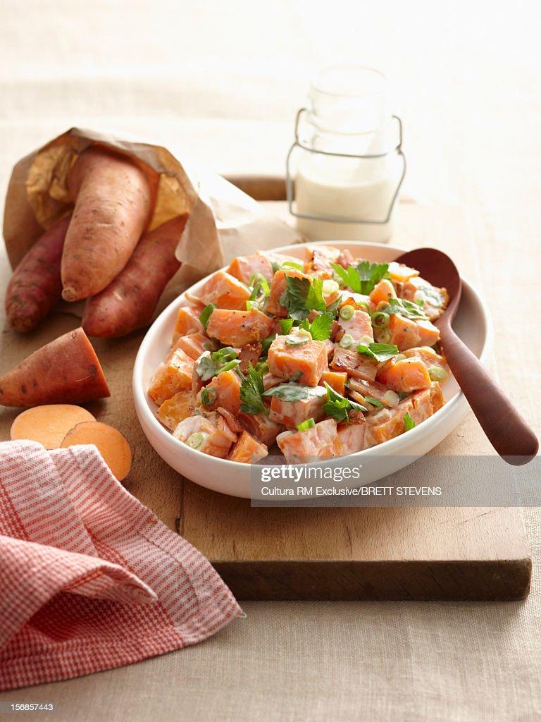 Bowl of sweet potato salad : Stock Photo