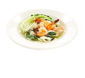 Bowl of Thai food on white background