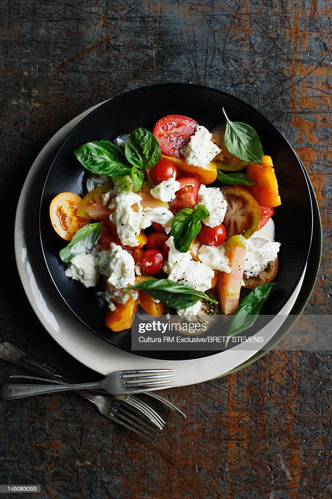 Bowl of tomato and cheese salad : Stock Photo