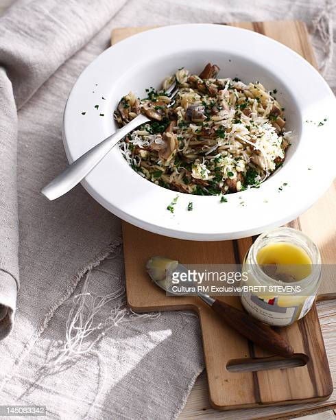 Bowl of truffle mushroom risotto