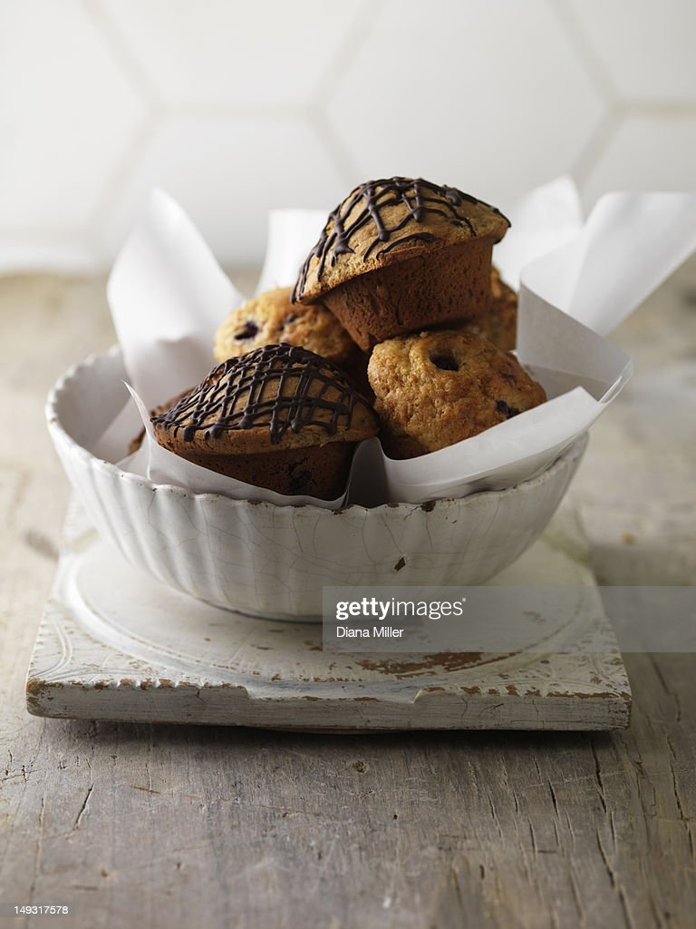 Bowl of various muffins : Stock Photo