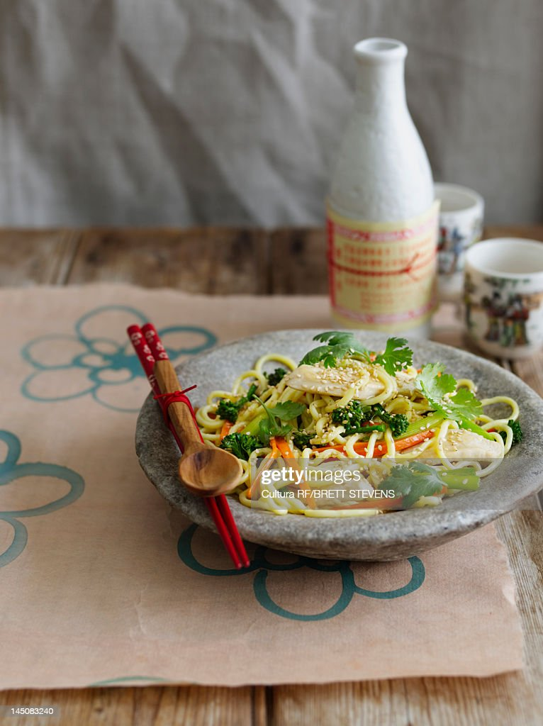 Bowl of vegetables and noodles : Stock Photo