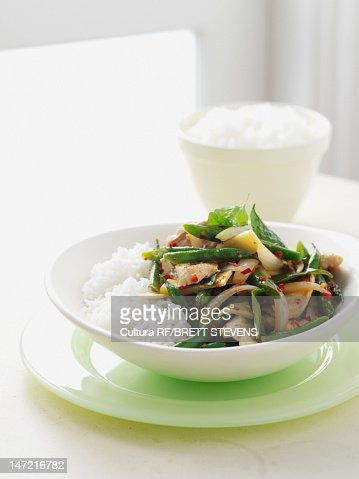 Bowl of vegetables with rice : Stock Photo