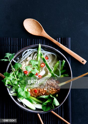 Bowl of Vietnamese noodle soup