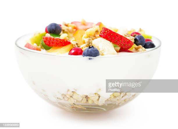 Bowl of yogurt, fresh fruit and muesli for healthy breakfast