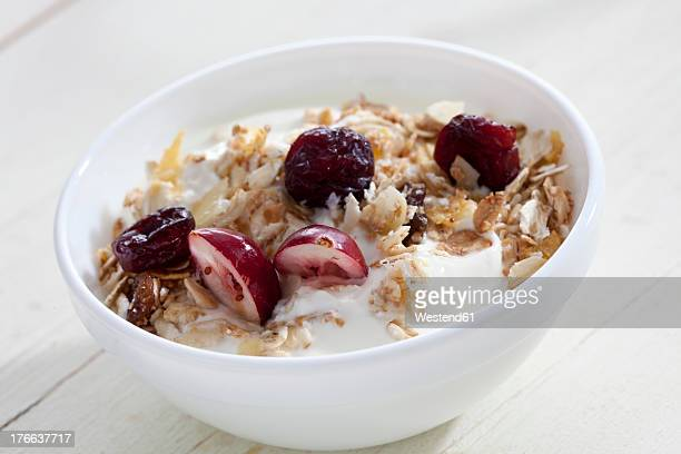 Bowl of yogurt with muesli and cranberries