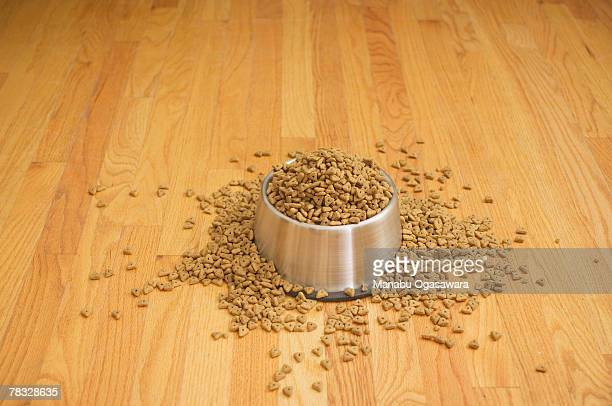Bowl overflowing with dog food