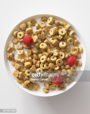Bowl with Cereal, Milk, and Raspberries