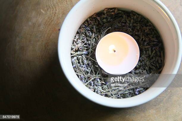 Bowl with dried lavender and a tea light