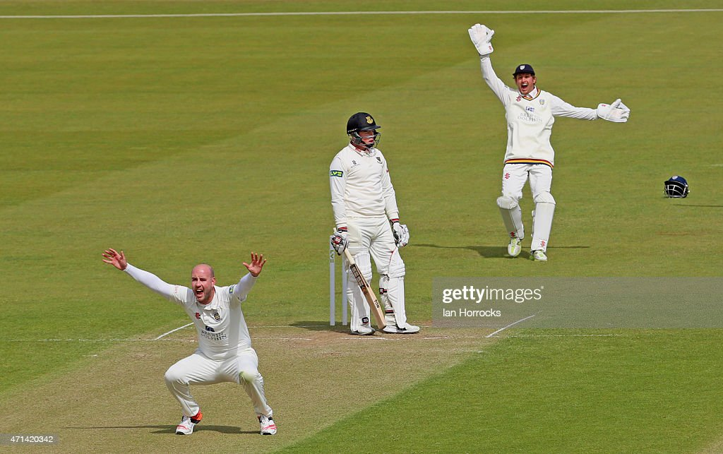 Bowler Chris Rushworth of Durham and wicket keeper Phil Mustard appeal for the wicket of Matt Machan during day 3 of the LV County Championship match...