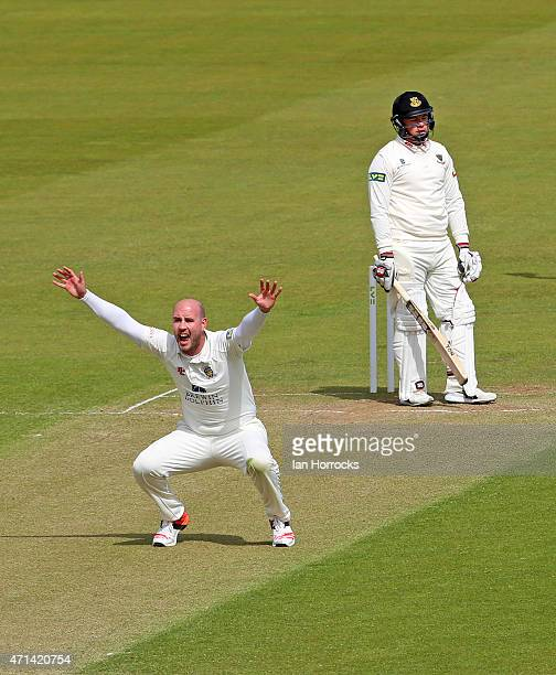 Bowler Chris Rushworth of Durham appeals for the wicket of Matt Machan during day 3 of the LV County Championship match between Durham CCC and Sussex...