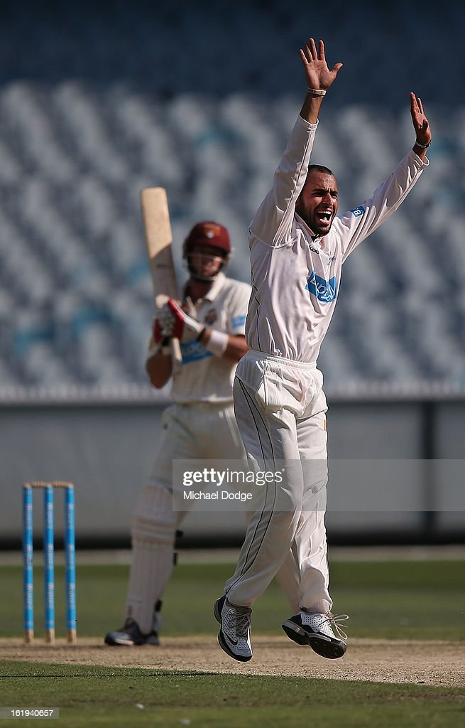 Bowler Fawad Ahmed of the Bushrangers appeals for an LBW against Nathan Hauritz of the Queensland Bulls during day one of the Sheffield Shield match between the Victorian Bushrangers and the Queensland Bulls at Melbourne Cricket Ground on February 18, 2013 in Melbourne, Australia.