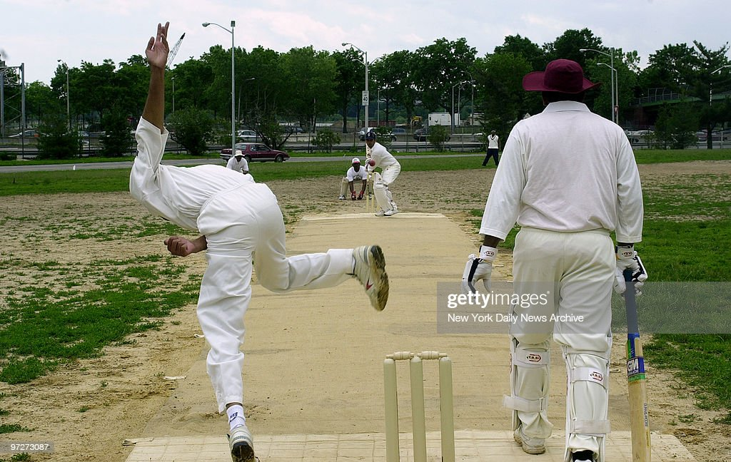 Bowler Ijaz Hussian throws the ball for the International Cricket Club during game against the El Dorado Cricket Club at Flushing Meadow Park