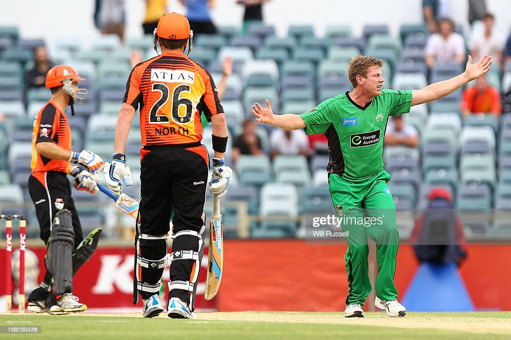 Bowler James Faulkner of the Stars appeals an LBW against Simon Katich during the Big Bash League match between the Perth Scorchers and the Melbourne Stars at WACA on December 12, 2012 in Perth, Australia.