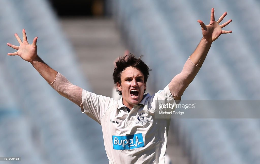 Bowler Will Sheridan of the Bushrangers appeals for an LBW during day one of the Sheffield Shield match between the Victorian Bushrangers and the Queensland Bulls at Melbourne Cricket Ground on February 18, 2013 in Melbourne, Australia.