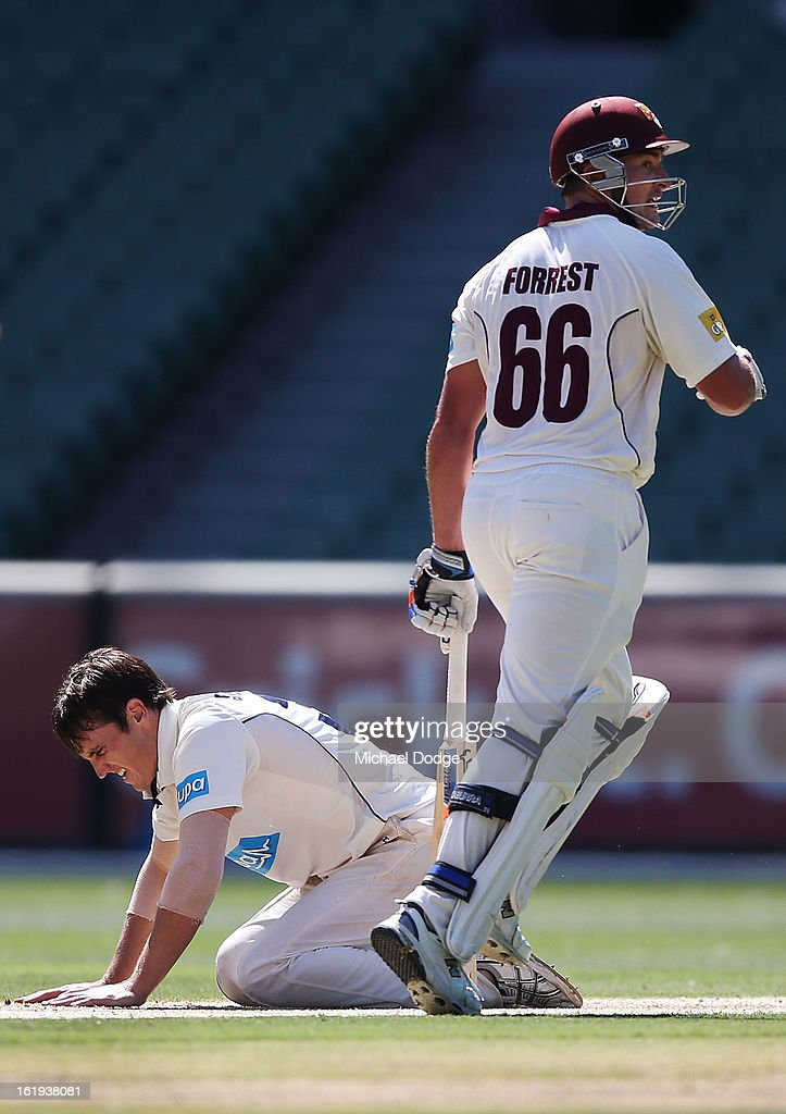 Bowler Will Sheridan of the Bushrangers reacts after being hit to the boundary by Peter Forrest of the Queensland Bulls during day one of the Sheffield Shield match between the Victorian Bushrangers and the Queensland Bulls at Melbourne Cricket Ground on February 18, 2013 in Melbourne, Australia.