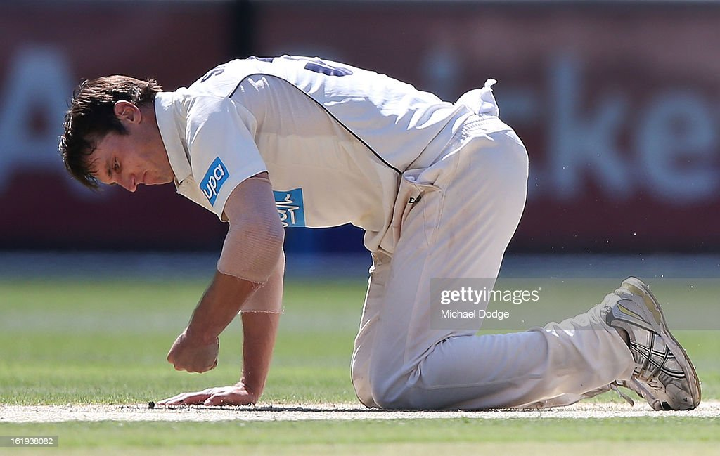 Bowler Will Sheridan of the Bushrangers reacts after being hit to the boundary during day one of the Sheffield Shield match between the Victorian Bushrangers and the Queensland Bulls at Melbourne Cricket Ground on February 18, 2013 in Melbourne, Australia.
