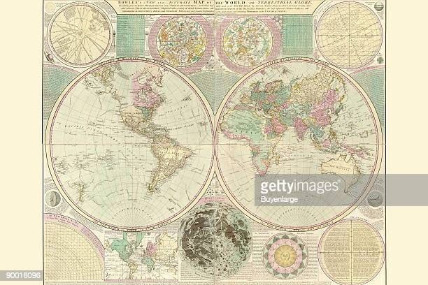 Bowles's new and accurate map of the world or Terrestrial globe laid down from the best observations and newest discoveries particularly those lately...