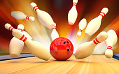 Bowling background pins and ball. Strike