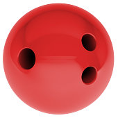 Red bowling ball on isolated white background