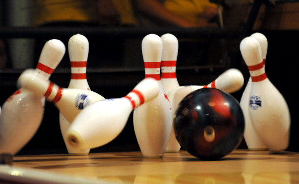 A bowling ball strikes the pins in the 1 : News Photo