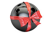 bowling ball with bow and ribbon closeup, gift concept. 3D rendering  isolated on  white background