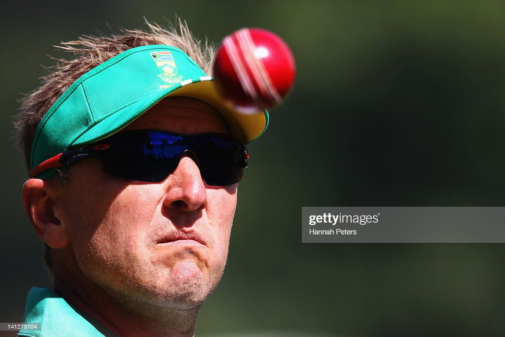 Bowling coach <a gi-track='captionPersonalityLinkClicked' href=/galleries/search?phrase=Allan+Donald&family=editorial&specificpeople=2185652 ng-click='$event.stopPropagation()'>Allan Donald</a> catches a ball in the nets during a training session at Seddon Park on March 14, 2012 in Hamilton, New Zealand.