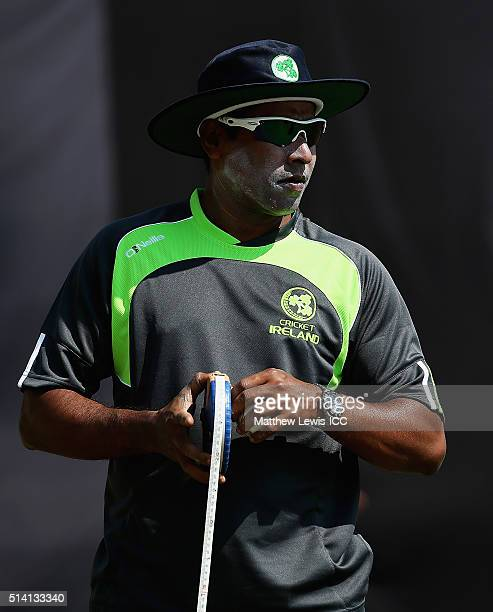 Bowling coach Chaminda Vaas of Ireland in action during a Training Session ahead of the ICC Twenty20 World Cup at HPCA Stadium on March 7 2016 in...