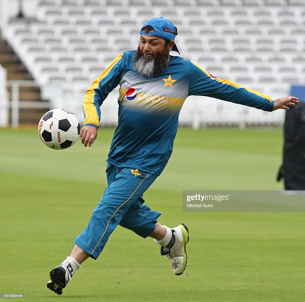 bowling coach Mushtaq Ahmed during the Pakistan nets session ahead of the 1st Investec Test match between England and Pakistan at Lords Cricket...