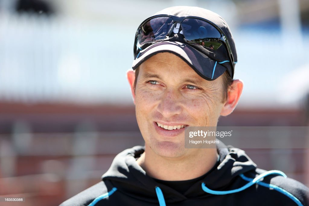 Bowling coach <a gi-track='captionPersonalityLinkClicked' href=/galleries/search?phrase=Shane+Bond&family=editorial&specificpeople=725147 ng-click='$event.stopPropagation()'>Shane Bond</a> speaks to media during a New Zealand training session at Basin Reserve on March 12, 2013 in Wellington, New Zealand.
