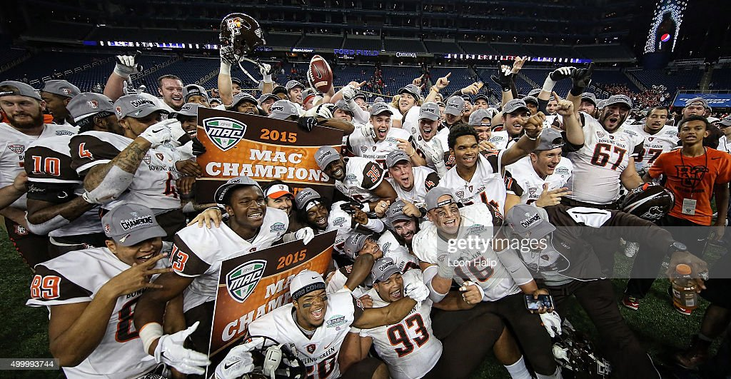 Bowling Green Falcons celebrate a win over Northern Illinois Huskies to with the MAC Championship on December 4 2015 at Ford Field in Detroit...