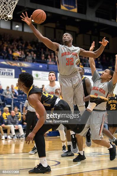 Bowling Green Falcons F Rasheed Worrell knocks the shot of Kent State Golden Flashes G Kevin Zabo out of bounds during the second half of the men's...
