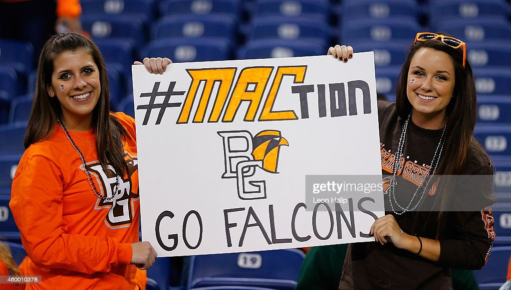 Bowling Green Falcons fans hold a sign during the MAC Championship game against the Northern Illinois Huskies at Ford Field on December 5 2014 in...