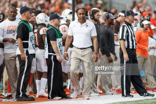 Bowling Green Falcons head coach Mike Jinks is frustrated in the first half of a game between the Ohio Bobcats and the Bowling Green Falcons on...