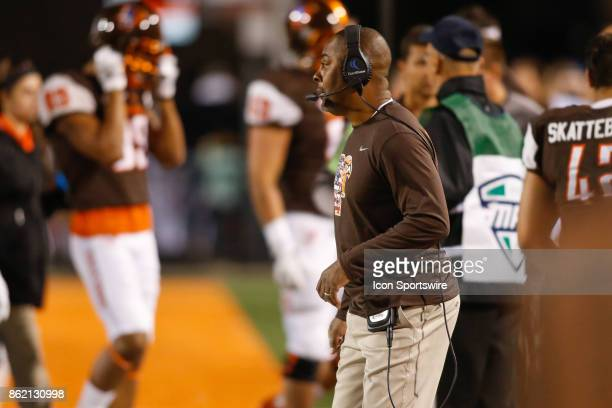 Bowling Green Falcons head coach Mike Jinks looks on during game action between the Akron Zips and the Bowling Green Falcons on September 30 2017 at...