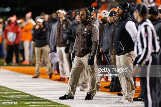 Bowling Green Falcons head coach Mike Jinks watches the action on the field during first half game action between the Toledo Rockets and the Bowling...