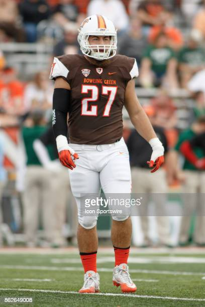 Bowling Green Falcons linebacker Nate Locke walks to the line of scrimmage in the first half of a game between the Ohio Bobcats and the Bowling Green...