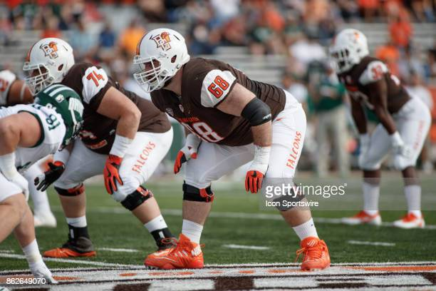 Bowling Green Falcons offensive lineman Ryan Hunter gets set in the first half of a game between the Ohio Bobcats and the Bowling Green Falcons on...
