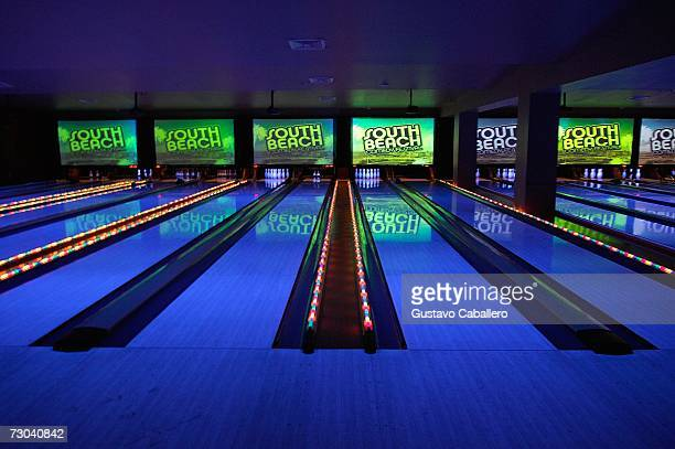 Bowling lanes are shown at an afterparty during the South Beach Comedy Festival at Lucky Strikes January 18 2007 in Miami Beach Florida