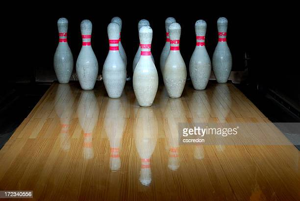 Bowling pins standing in the he alley