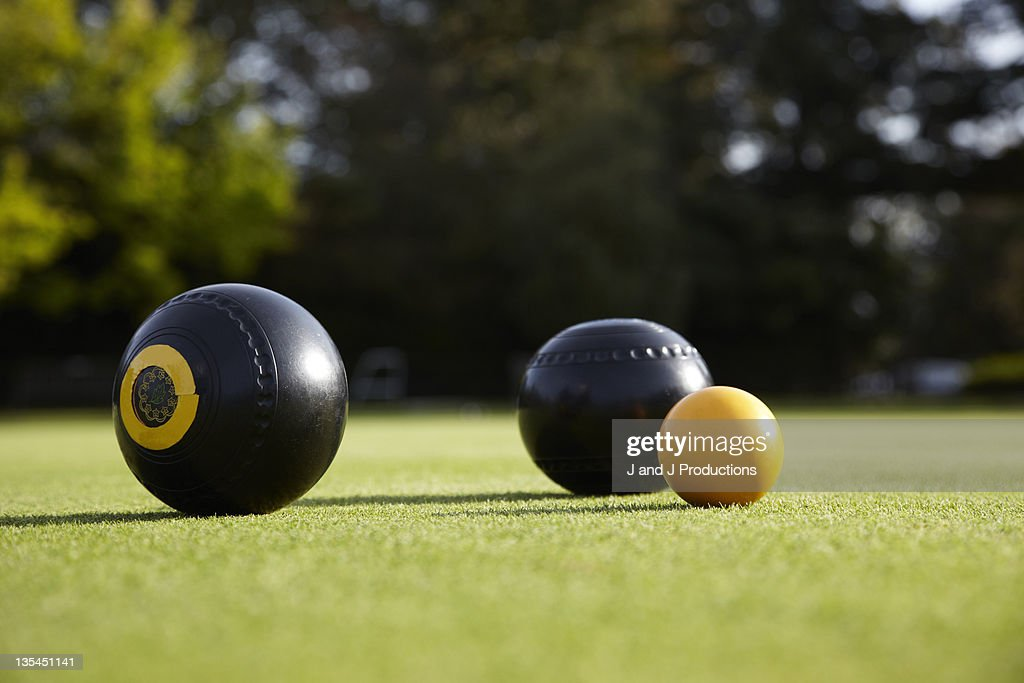 bowls and a wood on a bowling green