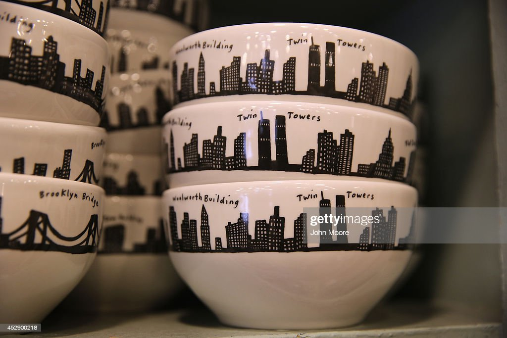 Bowls from the '212 New York Skyline' collection sit on a display shelf at Fishs Eddy, a well-known housewares store on Broadway and 19th St. in Manhattan on July 29, 2014 in New York City. The Port Authority of New York and New Jersey has accused the shop of 'unfairly reaping a benefit from an association with the Port Authority and the attack' of September 11. The Authority has asked the store to stop selling anything with these 'assets' on them, such as the Twin Towers, One World Trade Center and the Lincoln and Holland tunnels.