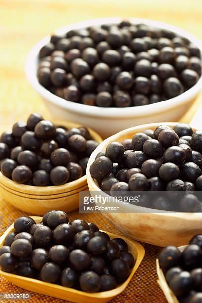 Bowls of acai berries
